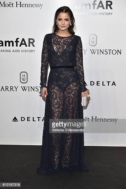 Actress Giulia Elettra Gorietti walks the red carpet of amfAR Milano 2016 at La Permanente on September 24 2016 in Milan Italy