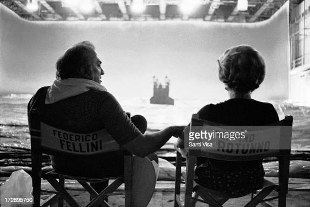 Actress Giulietta Masina on the set of Casanova with Federico Fellini on July 71975 in Rome Italy