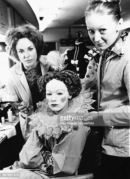Actress Glenda Jackson in the makeup chair being prepared to play the role of Queen Elizabeth I on the set of the BBC Television series 'Elizabeth R'...