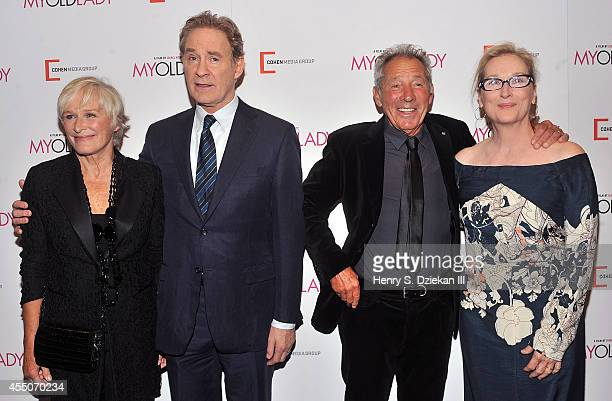 Actress Glenn Close actor Kevin Kline director Israel Horovitz and actress Meryl Streep attend the 'My Old Lady' New York Premiere at Museum of...