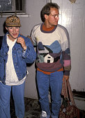 Actress Glenn Close and actor Woody Harrelson leave after performing in 'Brooklyn Laundry' on April 25 1991 at the Coronet Theatre in West Hollywood...