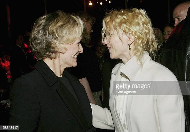 Actress Glenn Close and actress Naomi Watts attend the 'King Kong' world premiere after party at Pier 92 December 05 2005 in New York City
