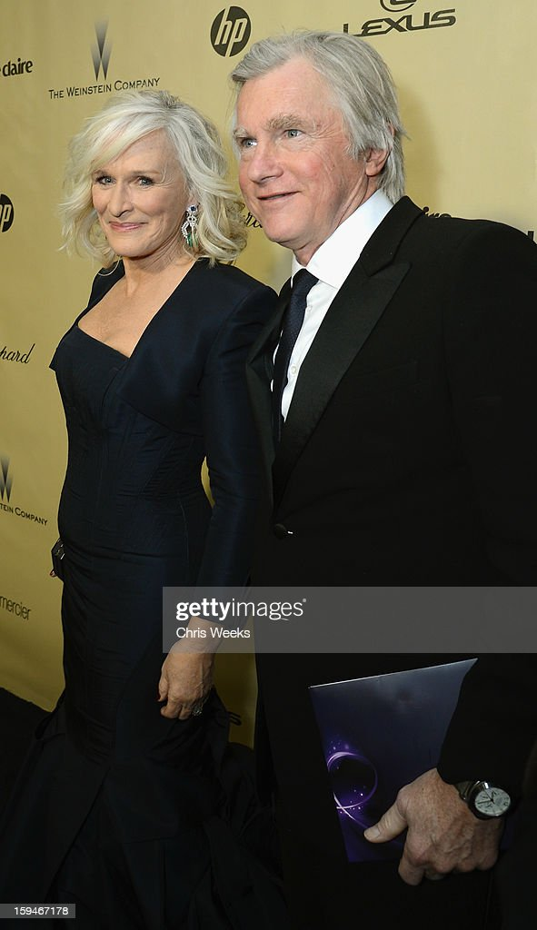 Actress Glenn Close (L) and David Shaw attend The Weinstein Company's 2013 Golden Globe Awards after party presented by Chopard, HP, Laura Mercier, Lexus, Marie Claire, and Yucaipa Films held at The Old Trader Vic's at The Beverly Hilton Hotel on January 13, 2013 in Beverly Hills, California.
