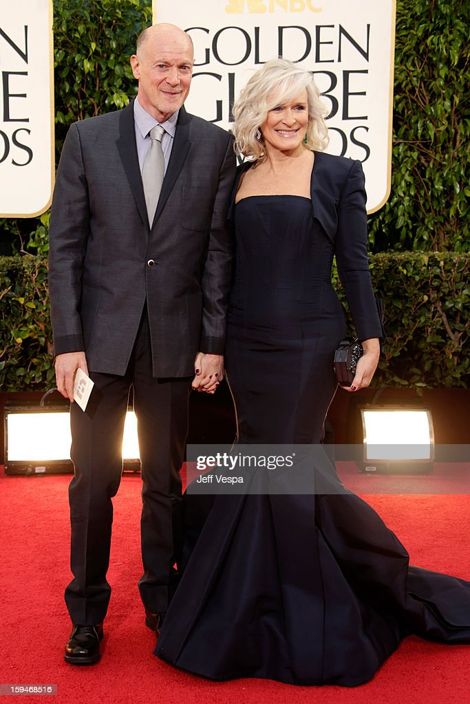 Actress <a gi-track='captionPersonalityLinkClicked' href=/galleries/search?phrase=Glenn+Close&family=editorial&specificpeople=201870 ng-click='$event.stopPropagation()'>Glenn Close</a> (R) and guest arrive at the 70th Annual Golden Globe Awards held at The Beverly Hilton Hotel on January 13, 2013 in Beverly Hills, California.