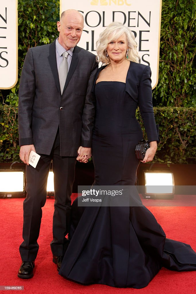 Actress Glenn Close (R) and guest arrive at the 70th Annual Golden Globe Awards held at The Beverly Hilton Hotel on January 13, 2013 in Beverly Hills, California.