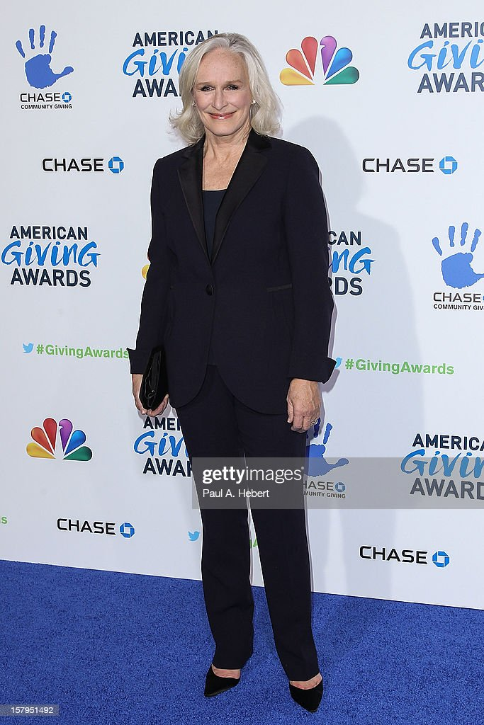 Actress Glenn Close arrives at the 2nd Annual American Giving Awards presented by Chase held at the Pasadena Civic Auditorium on December 7, 2012 in Pasadena, California.