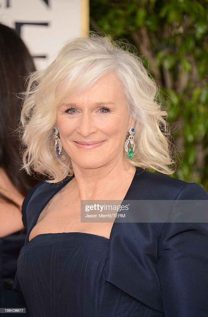 Actress Glenn Close arrives at the 70th Annual Golden Globe Awards held at The Beverly Hilton Hotel on January 13, 2013 in Beverly Hills, California.