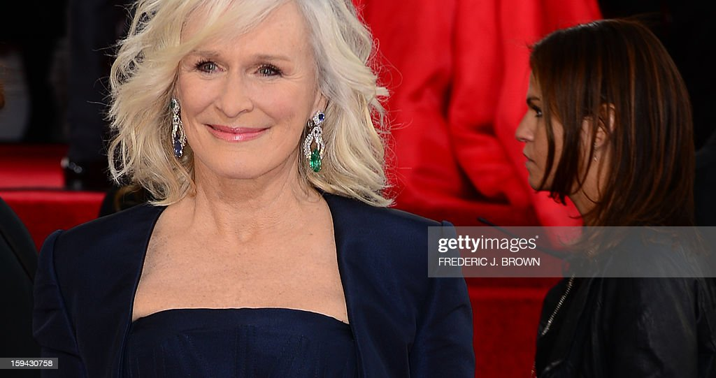 Actress Glenn Close arrives for the Golden Globe Awards in Beverly Hills on January 13, 2013. AFP PHOTO / Frederic J. BROWN