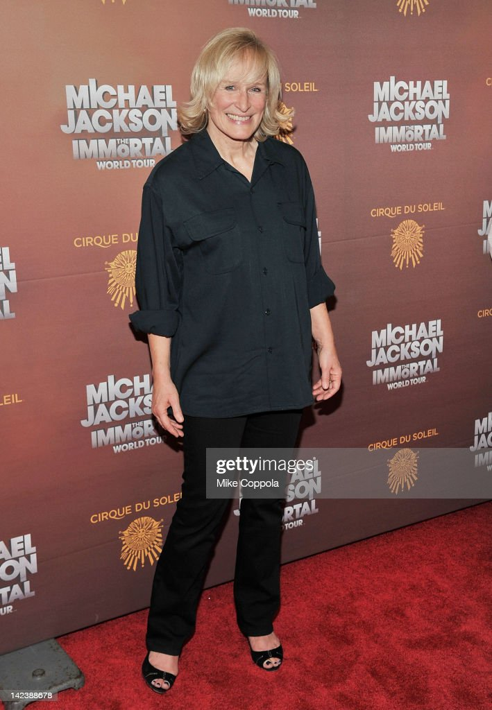 Actress <a gi-track='captionPersonalityLinkClicked' href=/galleries/search?phrase=Glenn+Close&family=editorial&specificpeople=201870 ng-click='$event.stopPropagation()'>Glenn Close</a> attends Michael Jackson THE IMMORTAL World Tour show by Cirque du Soleil at Madison Square Garden on April 3, 2012 in New York City.