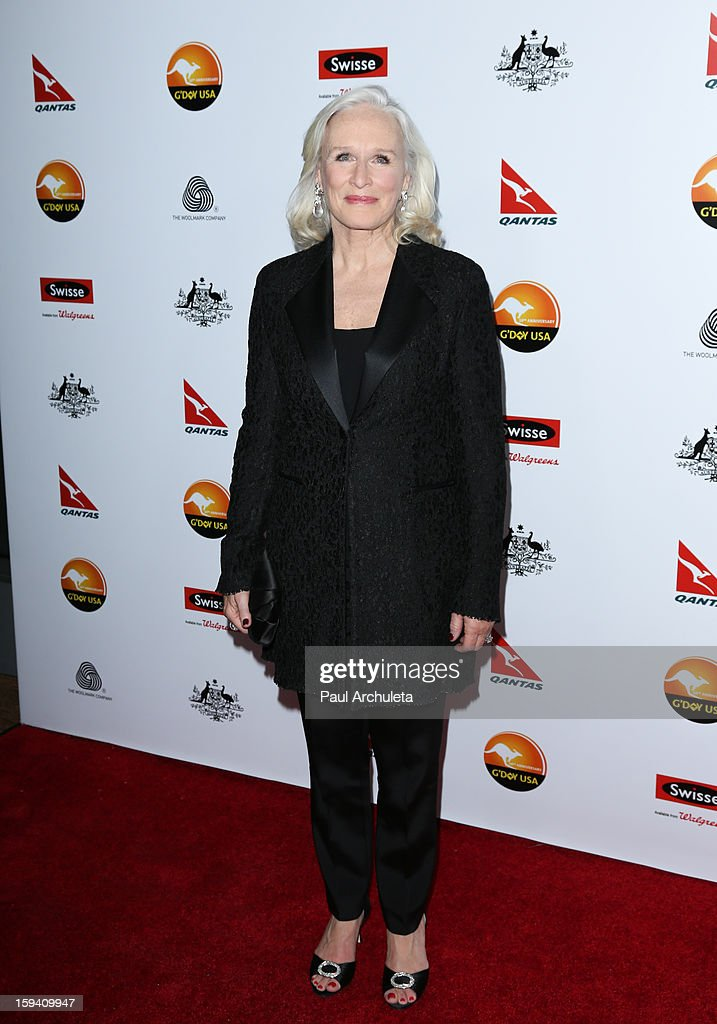 Actress <a gi-track='captionPersonalityLinkClicked' href=/galleries/search?phrase=Glenn+Close&family=editorial&specificpeople=201870 ng-click='$event.stopPropagation()'>Glenn Close</a> attends the 2013 G'Day USA Los Angeles Black Tie Gala at JW Marriott Los Angeles at L.A. LIVE on January 12, 2013 in Los Angeles, California.