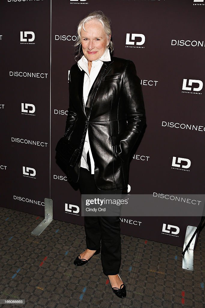 Actress <a gi-track='captionPersonalityLinkClicked' href=/galleries/search?phrase=Glenn+Close&family=editorial&specificpeople=201870 ng-click='$event.stopPropagation()'>Glenn Close</a> attends the 'Disconnect' New York Special Screening at SVA Theater on April 8, 2013 in New York City.