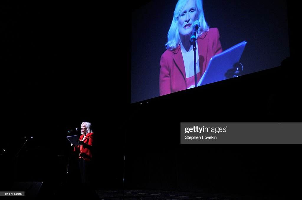 Actress <a gi-track='captionPersonalityLinkClicked' href=/galleries/search?phrase=Glenn+Close&family=editorial&specificpeople=201870 ng-click='$event.stopPropagation()'>Glenn Close</a> attends V-Day And One Billion Rising's RISE NYC at Hammerstein Ballroom on February 14, 2013 in New York City.