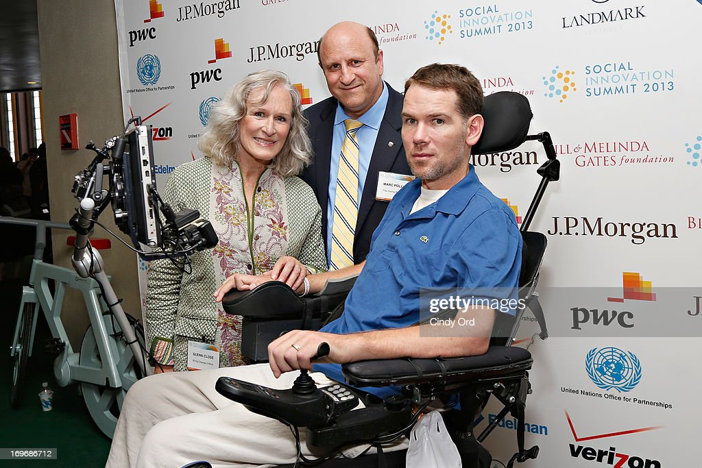 Actress <a gi-track='captionPersonalityLinkClicked' href=/galleries/search?phrase=Glenn+Close&family=editorial&specificpeople=201870 ng-click='$event.stopPropagation()'>Glenn Close</a>, Founder and President of The Giving Back Fund Marc Pollick and former NFL player <a gi-track='captionPersonalityLinkClicked' href=/galleries/search?phrase=Steve+Gleason&family=editorial&specificpeople=749005 ng-click='$event.stopPropagation()'>Steve Gleason</a> attend the Social Innovation Summit May 2013 - Day Two on May 30, 2013 in New York City.