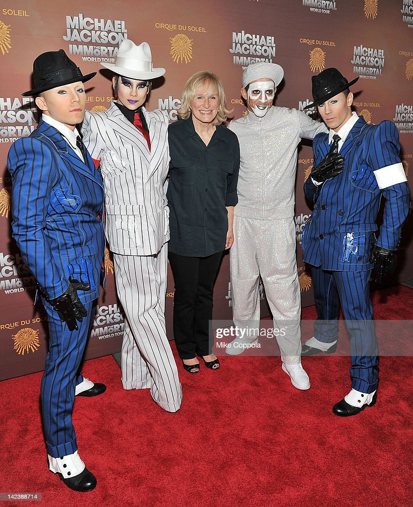 Actress <a gi-track='captionPersonalityLinkClicked' href=/galleries/search?phrase=Glenn+Close&family=editorial&specificpeople=201870 ng-click='$event.stopPropagation()'>Glenn Close</a> (3rd from L) poses for a picture with cirque du soleil cast members for Michael Jackson the Immortal World Tour of at Madison Square Garden on April 3, 2012 in New York City.