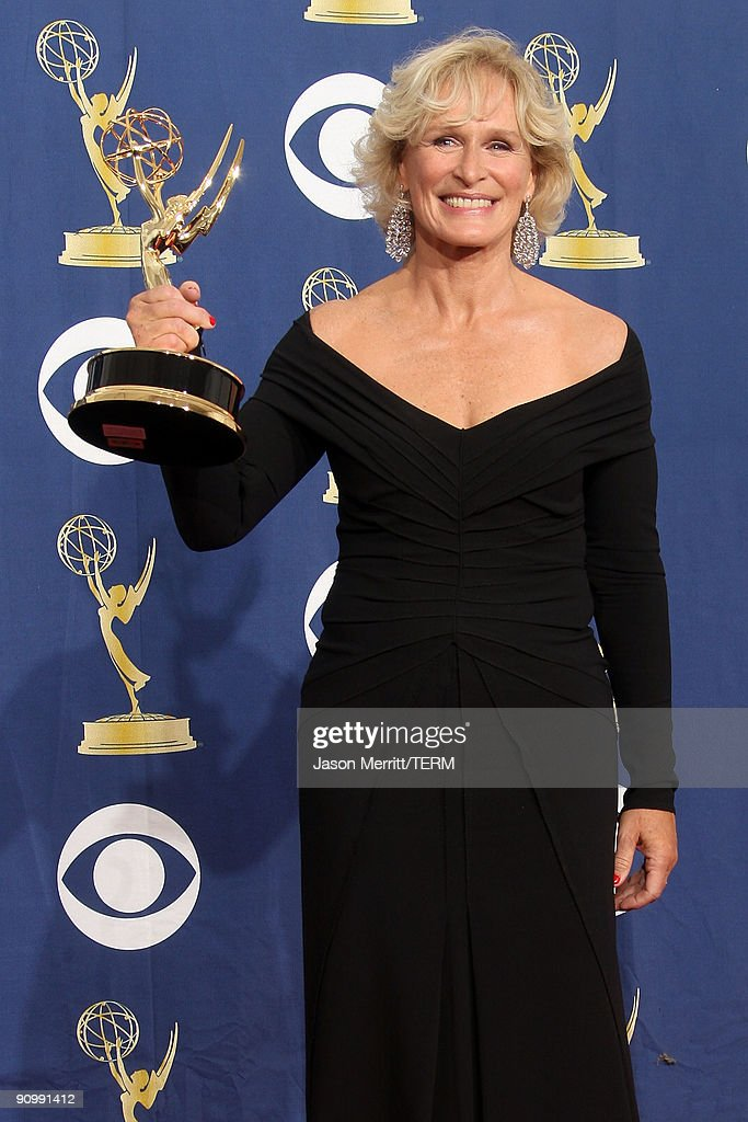 Actress <a gi-track='captionPersonalityLinkClicked' href=/galleries/search?phrase=Glenn+Close&family=editorial&specificpeople=201870 ng-click='$event.stopPropagation()'>Glenn Close</a> poses in the press room with her Emmy for Outstanding Lead Actress in a Drama Series for 'Damages' at the 61st Primetime Emmy Awards held at the Nokia Theatre on September 20, 2009 in Los Angeles, California.