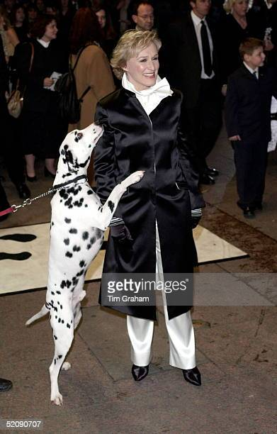 Actress Glenn Close With A Dalmatian Dog At The Premiere Of The New Walt Disney Film ' 102 Dalmatians ' At The Odeon Cinema In Leicester Square London