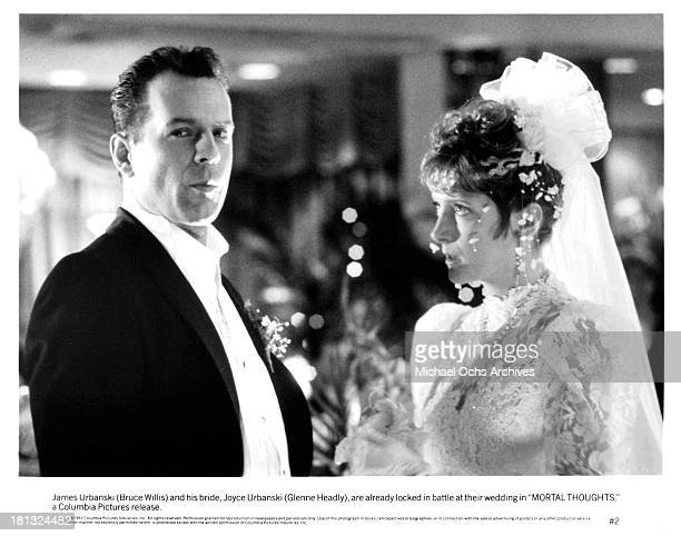 Actress Glenne Headly with actor Bruce Willis on set of the Columbia Pictures movie ' Mortal Thoughts' in 1991
