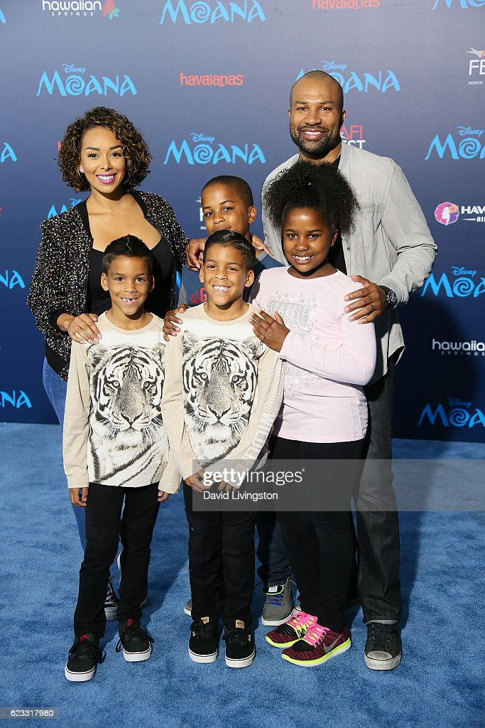 Actress Gloria Govan (L) basketball coach Derek Fisher (R) and family arrive at the AFI FEST 2016 presented by Audi premiere of Disney's 'Moana' held at the El Capitan Theatre on November 14, 2016 in Hollywood, California.