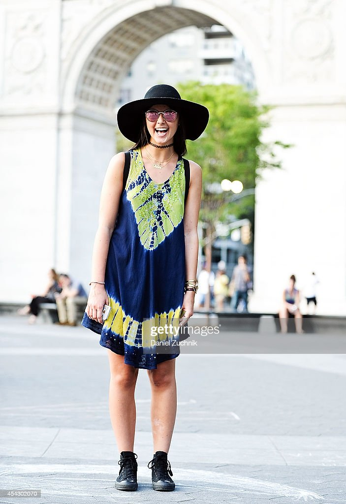 Actress Gloria is seen around Greenwich Village wearing a vintage African top, H&M hat, Converse shoes and a Fjallraven bag on August 28, 2014 in New York City.