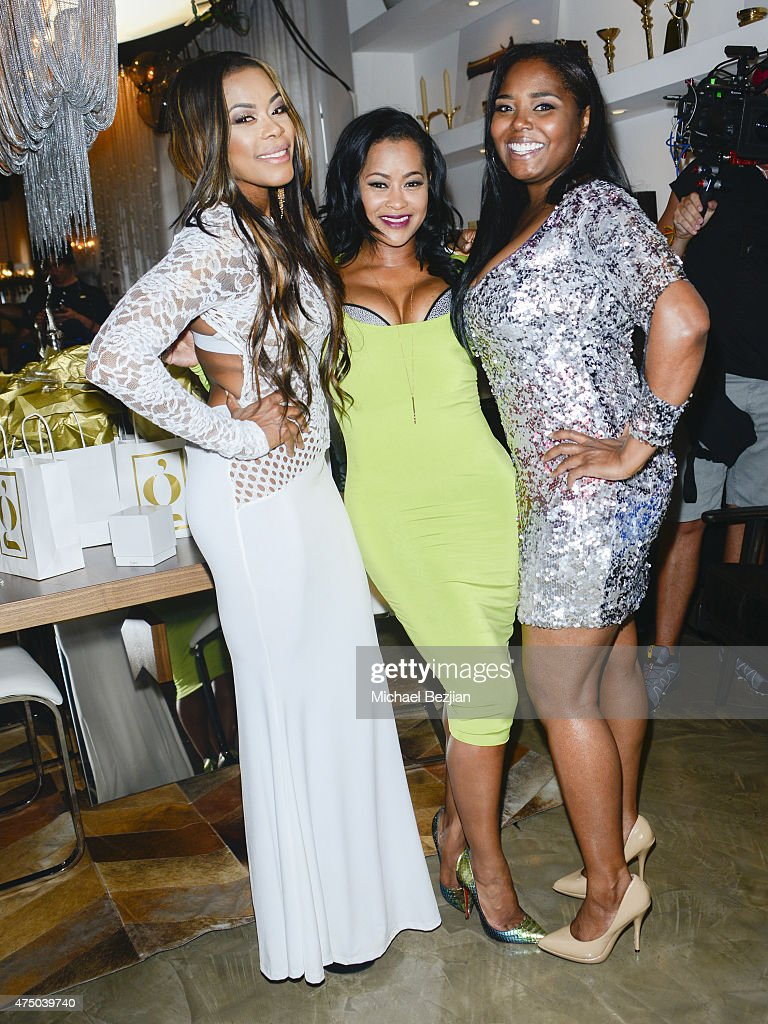 Actress Golden Brooks TV personality Lisa Wu and actress Shar Jackson pose for portrait at The Golden Collection Trunk Show on May 28 2015 in West...