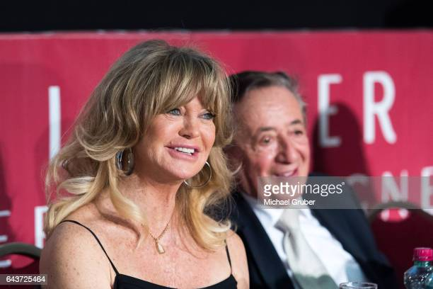 US actress Goldie Hawn and Richard Lugner are seen during a press conference where Lugner presented Hawn as his guest for this year's Opera Ball at...