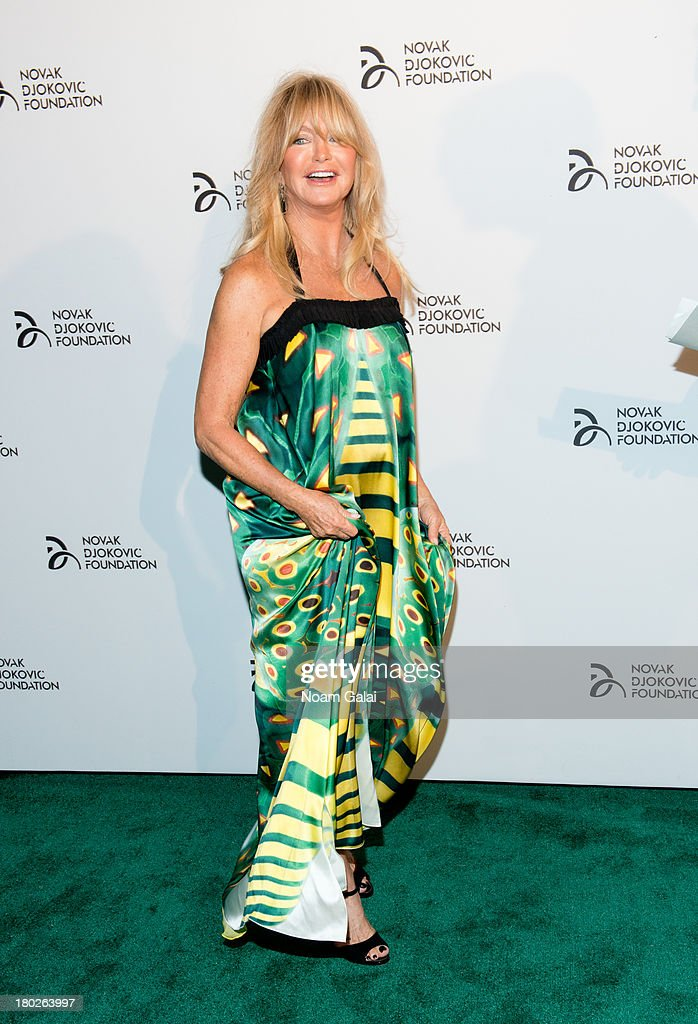 Actress <a gi-track='captionPersonalityLinkClicked' href=/galleries/search?phrase=Goldie+Hawn&family=editorial&specificpeople=171422 ng-click='$event.stopPropagation()'>Goldie Hawn</a> attends the The 2013 Novak Djokovic Benefit Dinner at Capitale on September 10, 2013 in New York City.