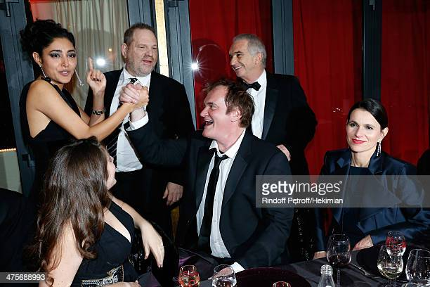 Actress Golshifteh Farahani producer Harvey Weinstein director Quentin Tarantino Academy President Alain Terzian and Aurelie Filippetti attend dinner...