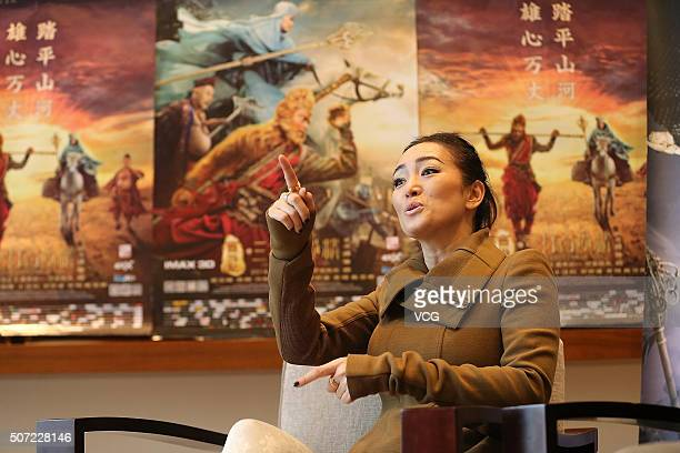 Actress Gong Li gives interviews after the press conference of director Cheang Pousoi's film 'The Monkey King 2' on January 28 2016 in Chengdu...