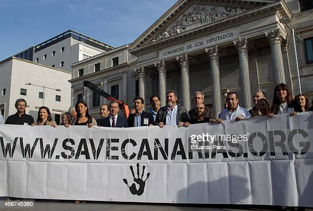 Actress Goya Toledo joins 'Save Canarias' demonstration at Congress of Deputies in Madrid on October 6 2014 in Madrid Spain