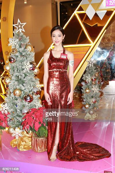 Actress Grace Chan attends the Christmas lighting ceremony of a shopping mall on November 27 2016 in Hong Kong China