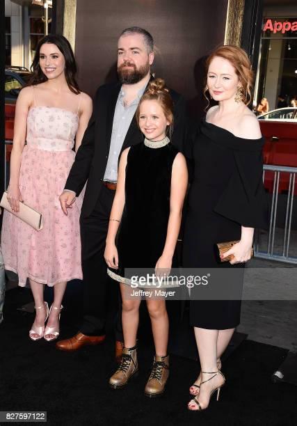 Actress Grace Fulton director David F Sandberg actresses Lulu Wilson and Miranda Otto attend the premiere of New Line Cinema's 'Annabelle Creation'...