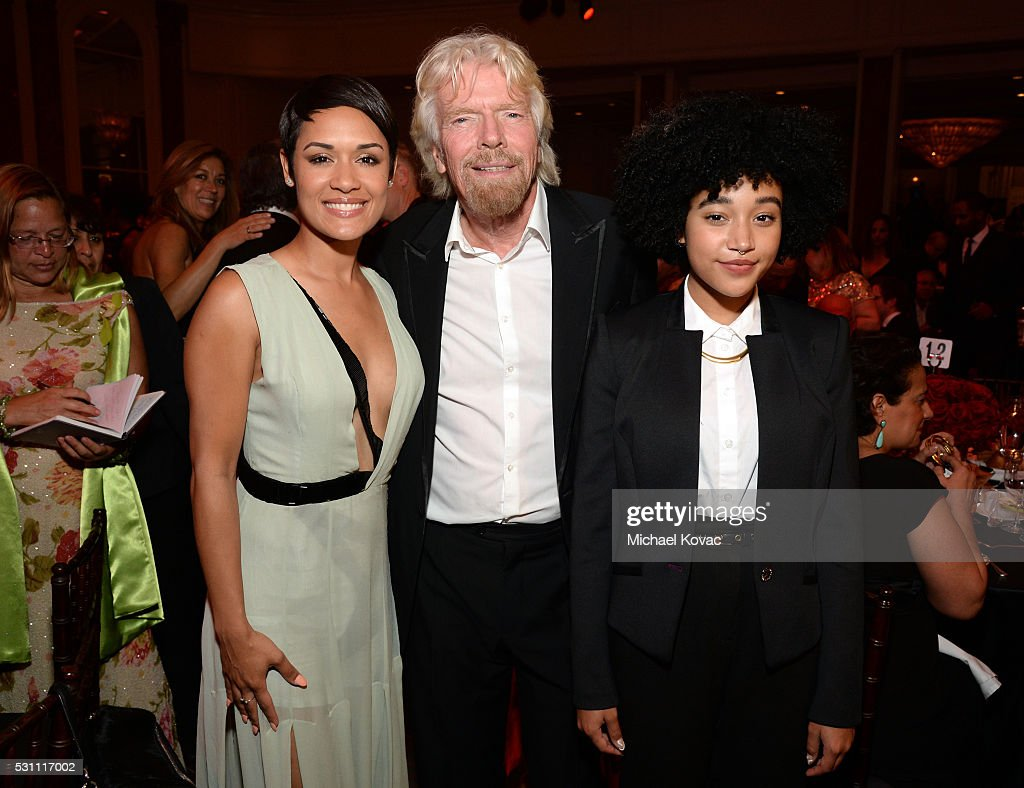 Actress Grace Gealey, Richard Branson and actress Amandla Stenberg attend the AltaMed Power Up, We Are The Future Gala at the Beverly Wilshire Four Seasons Hotel on May 12, 2016 in Beverly Hills, California.