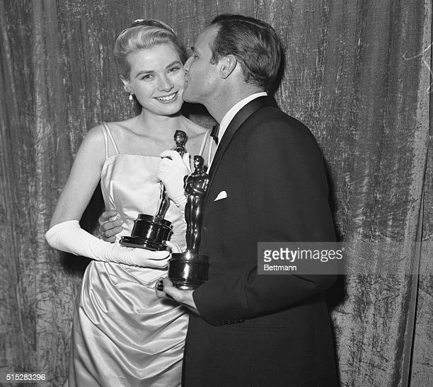 Actress Grace Kelly holding her Oscar after she was honored as the 'Best Actress' of 1954 at the 27th Academy Awards She won the prize for her role...