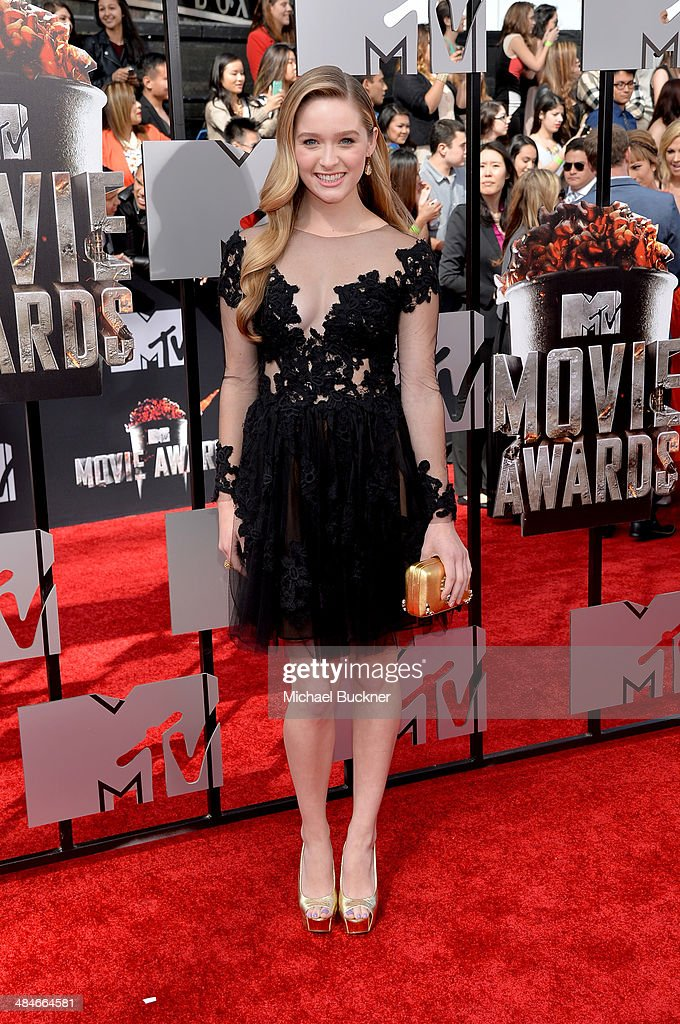Actress Greer Grammer attends the 2014 MTV Movie Awards at Nokia Theatre LA Live on April 13 2014 in Los Angeles California
