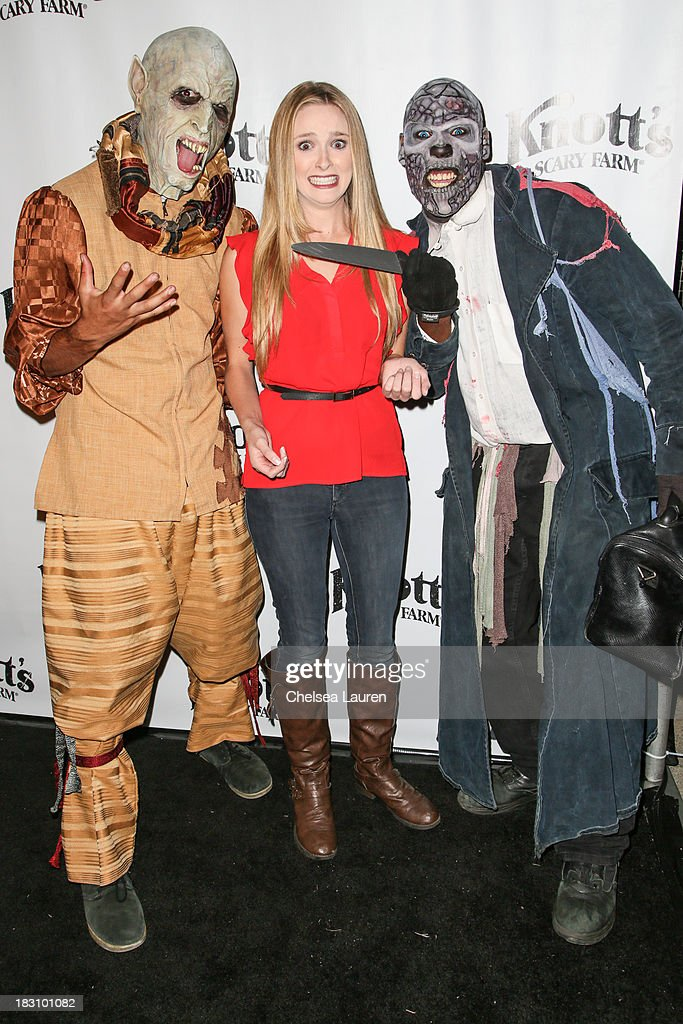 Actress <a gi-track='captionPersonalityLinkClicked' href=/galleries/search?phrase=Greer+Grammer&family=editorial&specificpeople=4524282 ng-click='$event.stopPropagation()'>Greer Grammer</a> attends the Knott's Scary Farm 'Haunt' VIP Opening Night Party at Knott's Berry Farm on October 3, 2013 in Buena Park, California.