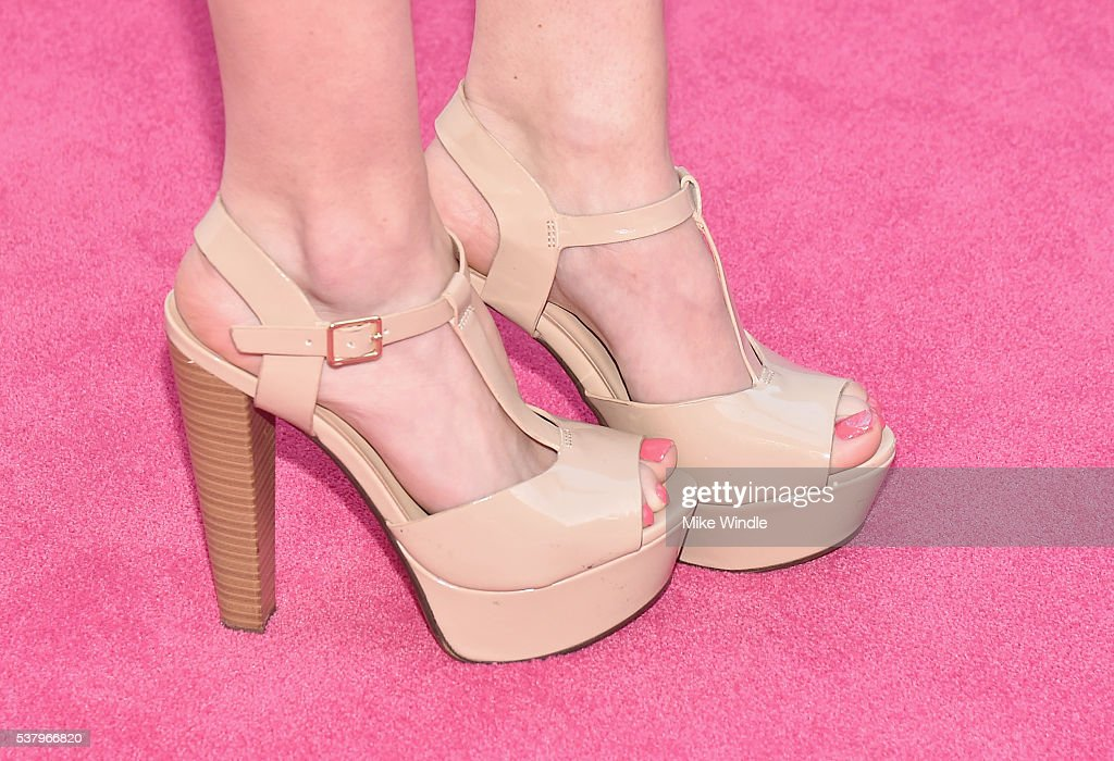 Actress Greer Grammer shoe detail attends the Maybelline New York celebration of their latest collection with an LA beauty bash hosted By Gigi Hadid...