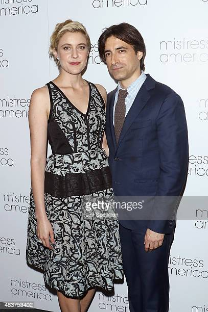 Actress Greta Gerwig and director Noah Baumbach attends the 'Mistress America' New York premiere at Landmark Sunshine Cinema on August 12 2015 in New...