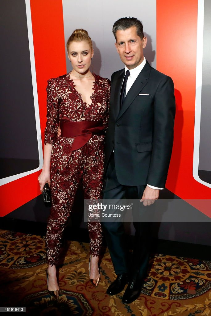 Actress <a gi-track='captionPersonalityLinkClicked' href=/galleries/search?phrase=Greta+Gerwig&family=editorial&specificpeople=4249808 ng-click='$event.stopPropagation()'>Greta Gerwig</a> and W Magazine Editor and New Museum Spring Gala Honorary Chair <a gi-track='captionPersonalityLinkClicked' href=/galleries/search?phrase=Stefano+Tonchi&family=editorial&specificpeople=2497117 ng-click='$event.stopPropagation()'>Stefano Tonchi</a> attend The New Museum Annual Spring Gala at Cipriani Wall Street on April 1, 2014 in New York City.