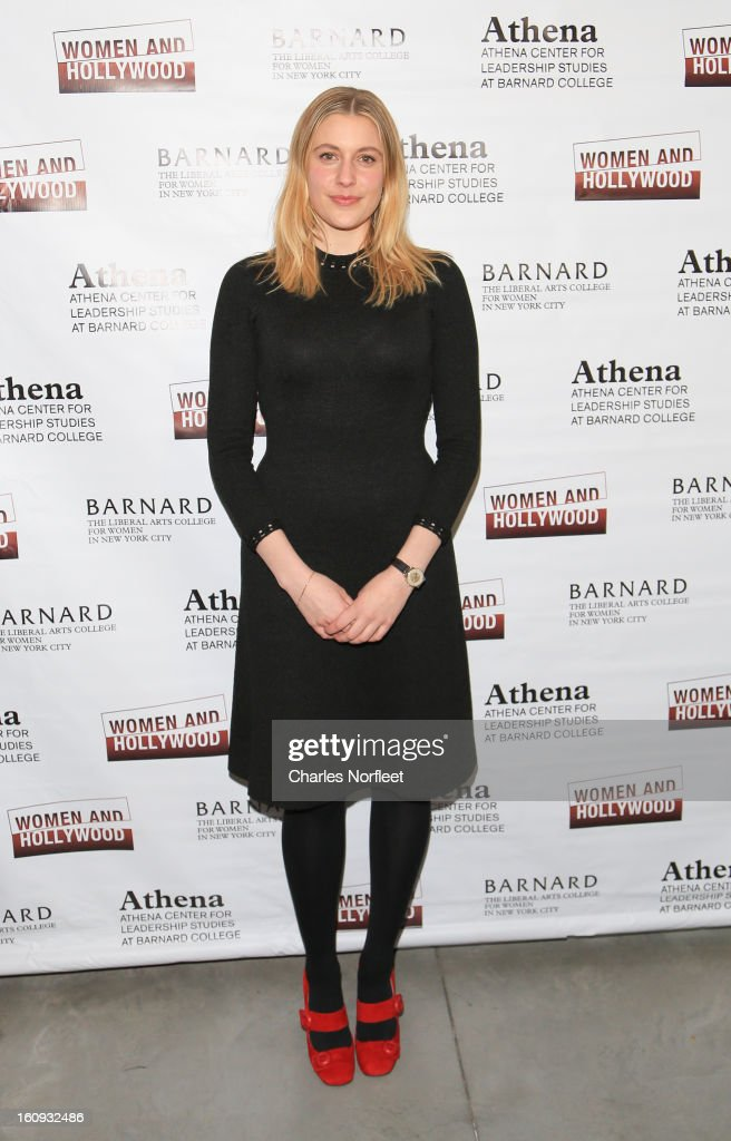 Actress Greta Gerwig attends The 2013 Athena Film Festival Opening Night Reception at The Diana Center At Barnard College on February 7 2013 in New...