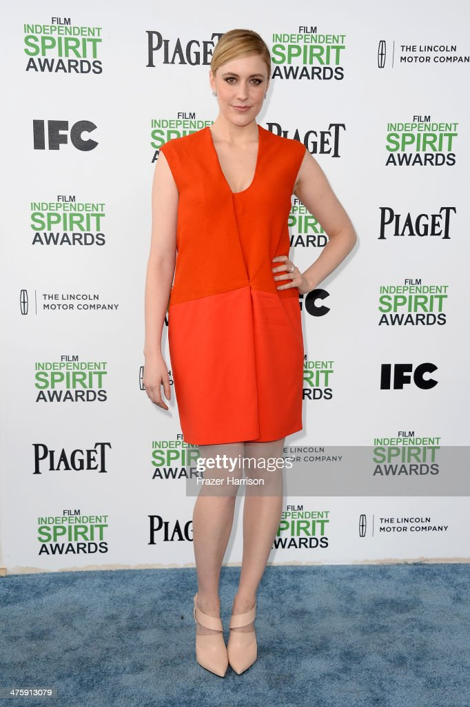 Actress <a gi-track='captionPersonalityLinkClicked' href=/galleries/search?phrase=Greta+Gerwig&family=editorial&specificpeople=4249808 ng-click='$event.stopPropagation()'>Greta Gerwig</a> attends the 2014 Film Independent Spirit Awards at Santa Monica Beach on March 1, 2014 in Santa Monica, California.