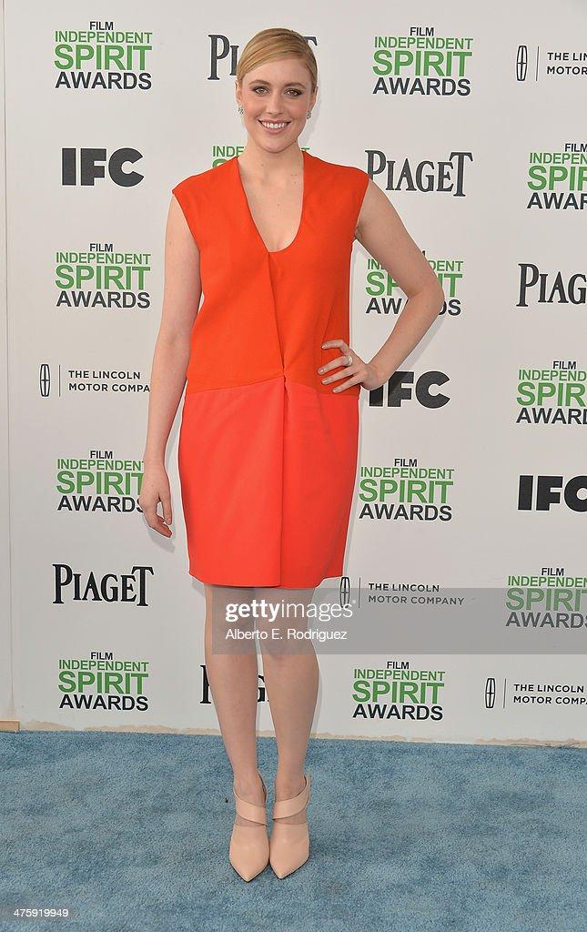 Actress Greta Gerwig attends the 2014 Film Independent Spirit Awards at Santa Monica Beach on March 1, 2014 in Santa Monica, California.