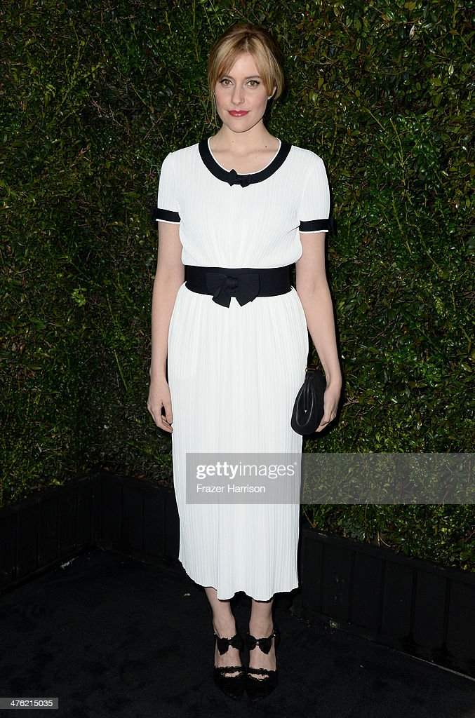 Actress Greta Gerwig attends the Chanel and Charles Finch Pre-Oscar Dinner at Madeo Restaurant on March 1, 2014 in Los Angeles, California.