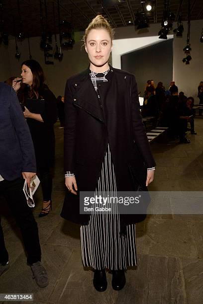 Actress Greta Gerwig attends the Proenza Schouler fashion show during MercedesBenz Fashion Week Fall 2015 at the Marcel Breuer Building on February...