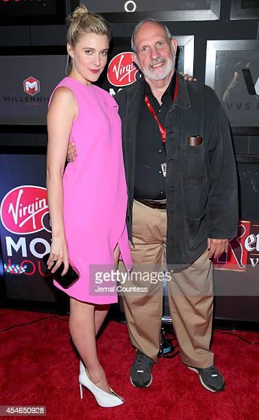 Actress Greta Gerwig director Brian De Palma attend 'The Humbling' at the Virgin Mobile Movie Lounge on September 4 2014 in Toronto Canada