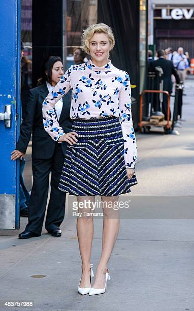 Actress Greta Gerwig leaves the 'Good Morning America' taping at the ABC Times Squares Studios on August 12 2015 in New York City