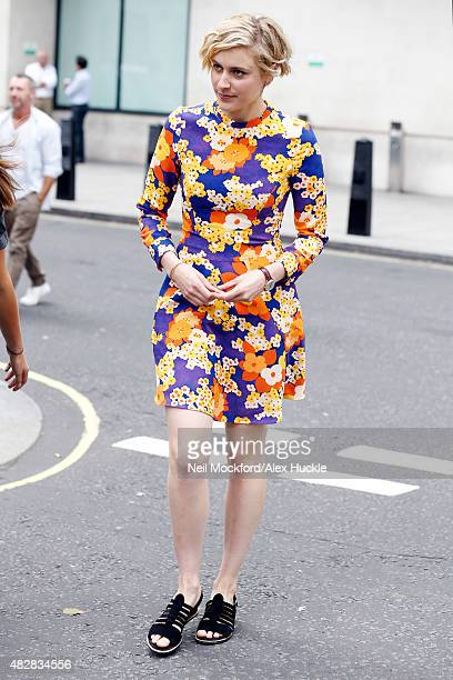 Actress Greta Gerwig seen leaving the BBC Radio 1 Studios on August 3 2015 in London England