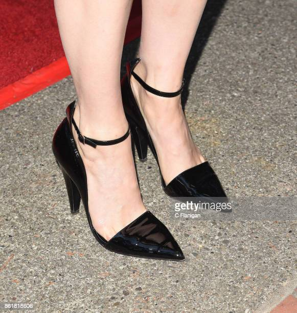 Actress Greta Gerwig shoe detail attends the screening of 'Lady Bird' during the 40th Mill Valley Film Festival at Outdoor Art Club on October 15...