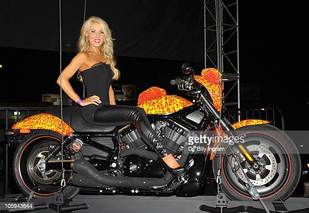 Actress Gretchen Rossi arrives at the Harley Davidson's Cosmic Starship Unveiling Event at Bartels' HarleyDavidson on October 21 2010 in Marina del...