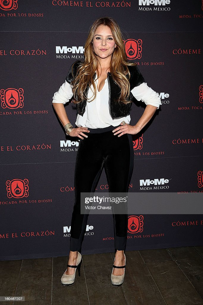 Actress Grettell Valdez attends the Comeme El corazon Moda Tocada Por Los Dioses event at Estacion Indianilla on January 31, 2013 in Mexico City, Mexico.