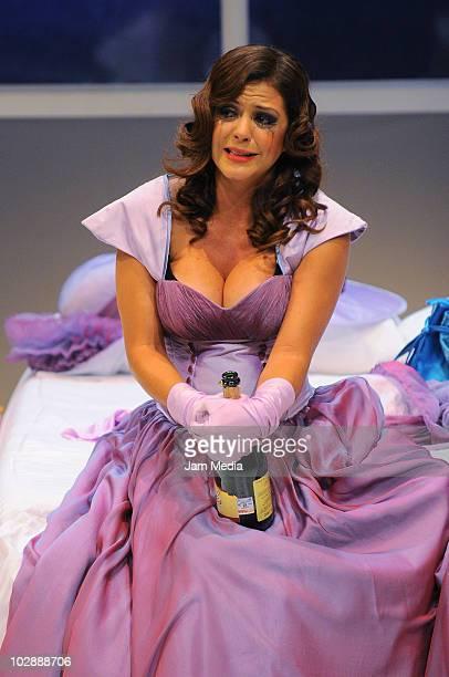 Actress Griselda Contreras in action during the premiere of the play Cinco mujeres usando el mismo vestido at Telon de Asfalto Theater on July 13...